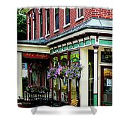 Corner Restaurant With Hanging Plants Shower Curtain