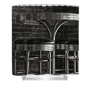 Corner Table - Black And White Shower Curtain