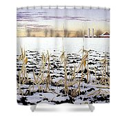 Cornfield In Winter Shower Curtain