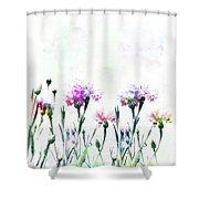 Cornflowers Watercolor  Shower Curtain