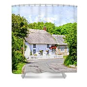 Cornish Thatched Cottage Shower Curtain