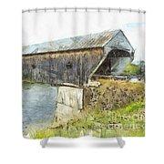 Cornish Windsor Covered Bridge Pencil Shower Curtain