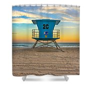 Coronado Beach Lifeguard Tower At Sunset Shower Curtain