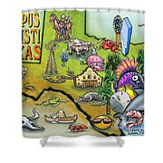 Corpus Christi Texas Cartoon Map Shower Curtain