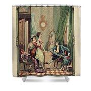 Corset Trade Card, 1912 Shower Curtain