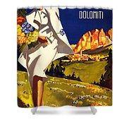 Cortina Dolomiti Italy Vintage Poster Restored Shower Curtain