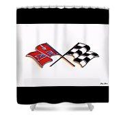 Corvette Flags On White Shower Curtain