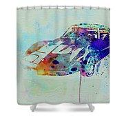 Corvette Watercolor Shower Curtain by Naxart Studio