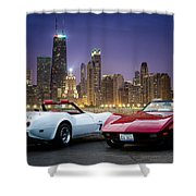 Corvettes In Chicago Shower Curtain