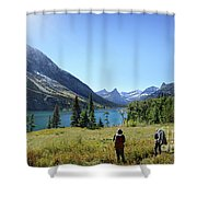 Cosley Ridge Over Cosley Lake - Glacier National Park Shower Curtain