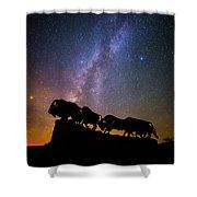 Cosmic Caprock Bison Shower Curtain