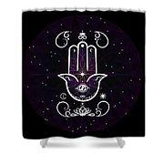 Cosmic Hamsa Shower Curtain