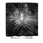 Cosmic Heart Of The Universe Bw Shower Curtain