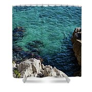 Cote D Azur - Stark White And Silky Azure Blue Shower Curtain