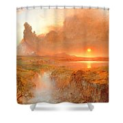 Cotopaxi Shower Curtain by Frederic Edwin Church