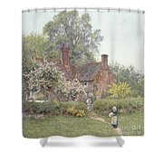 Cottage At Chiddingfold Shower Curtain by Helen Allingham