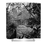 Cottage Black White Gardens Louisiana  Shower Curtain