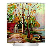 Cottage Country The Eastern Townships A Romantic Summer Landscape Shower Curtain by Carole Spandau