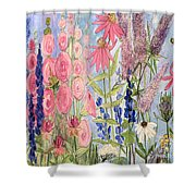 Cottage Flowers With Dragonfly Shower Curtain