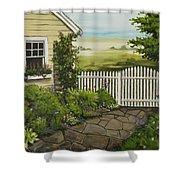 Cottage Garden Beach Getaway Shower Curtain