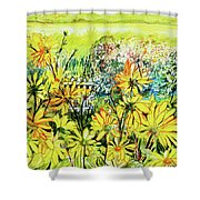 Cottage Gate Seen Through Sun Daisies Shower Curtain