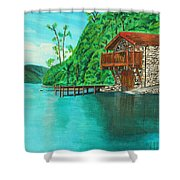 Cottage On Lake  Shower Curtain