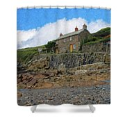 Cottage On Rocks At Port Quin - P4a16009 Shower Curtain