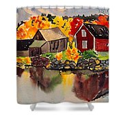Cottages By A Lake In Autumn  Shower Curtain