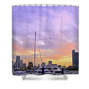 Cotton Candy Sunset Over Miami Shower Curtain