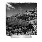 Cottonwood Creek Strange Rocks 3 Bw Shower Curtain by Roger Snyder