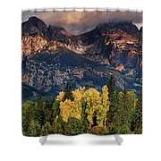 Cottonwoods Fir Trees Fall Color Grand Tetons Nat Shower Curtain by Dave Welling