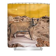 Cougar In The Mountain - 3d Render Shower Curtain