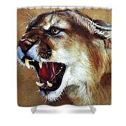 Cougar Shower Curtain by J W Baker