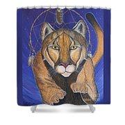Cougar Medicine With Cobalt Blue Background Shower Curtain