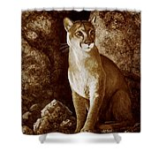 Cougar Wait Until Dark  Shower Curtain