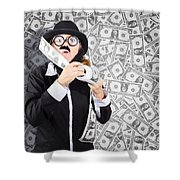 Counterfeit Printing Rolls Of American Money Shower Curtain