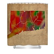Counties Of Connecticut Colorful Vibrant Watercolor State Map On Old Canvas Shower Curtain