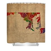 Counties Of Maryland Colorful Vibrant Watercolor State Map On Old Canvas Shower Curtain