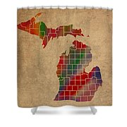 Counties Of Michigan Colorful Vibrant Watercolor State Map On Old Canvas Shower Curtain