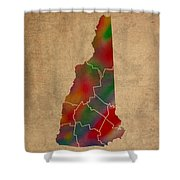 Counties Of New Hampshire Colorful Vibrant Watercolor State Map On Old Canvas Shower Curtain