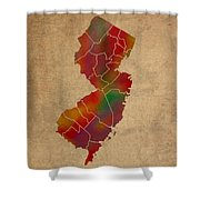 Counties Of New Jersey Colorful Vibrant Watercolor State Map On Old Canvas Shower Curtain