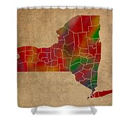 Counties Of New York Colorful Vibrant Watercolor State Map On Old Canvas Shower Curtain