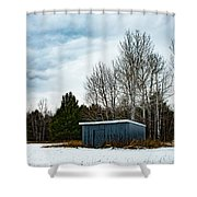 Country Barn In The Snow Shower Curtain
