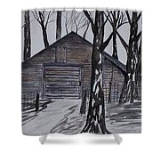 Country Barn Pen And Ink Drawing Print Shower Curtain