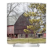 Country Barn With Pine Tree Shower Curtain