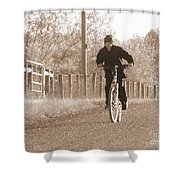 Country Boy And His Bike Shower Curtain