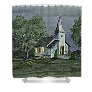 Country Church On A Summer Night Shower Curtain