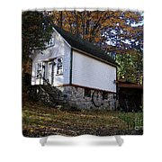 Country Cottage In Autumn Shower Curtain