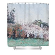 Country Cottage In Spring Time Shower Curtain