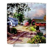 Country Covered Bridge 3 Shower Curtain
